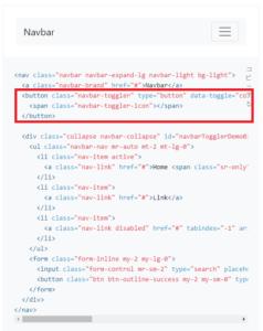 bootstrapのナビゲーションバーのトグルコード